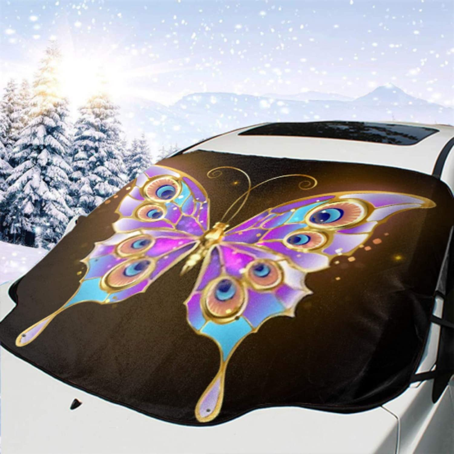HWJL Car Windshield Cover Gold Wings Patterned Butterfly Peacoc Credence 2021 spring and summer new