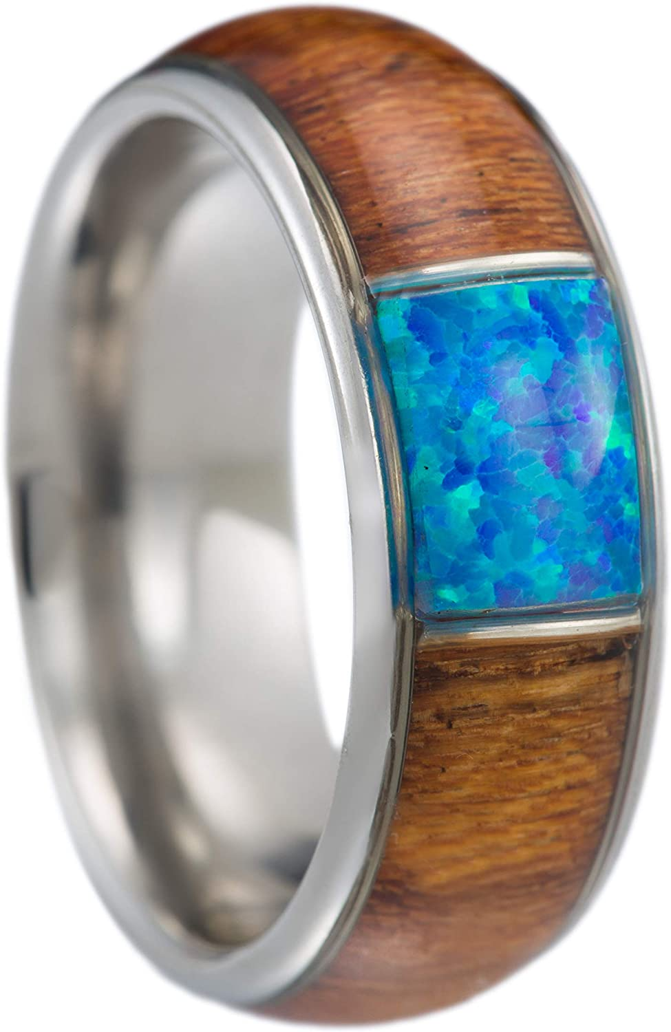 Stainless Steel Hawaiian Koa Wood with Created Blue Opal 8mm Comfort Fit Ring / Wedding Band
