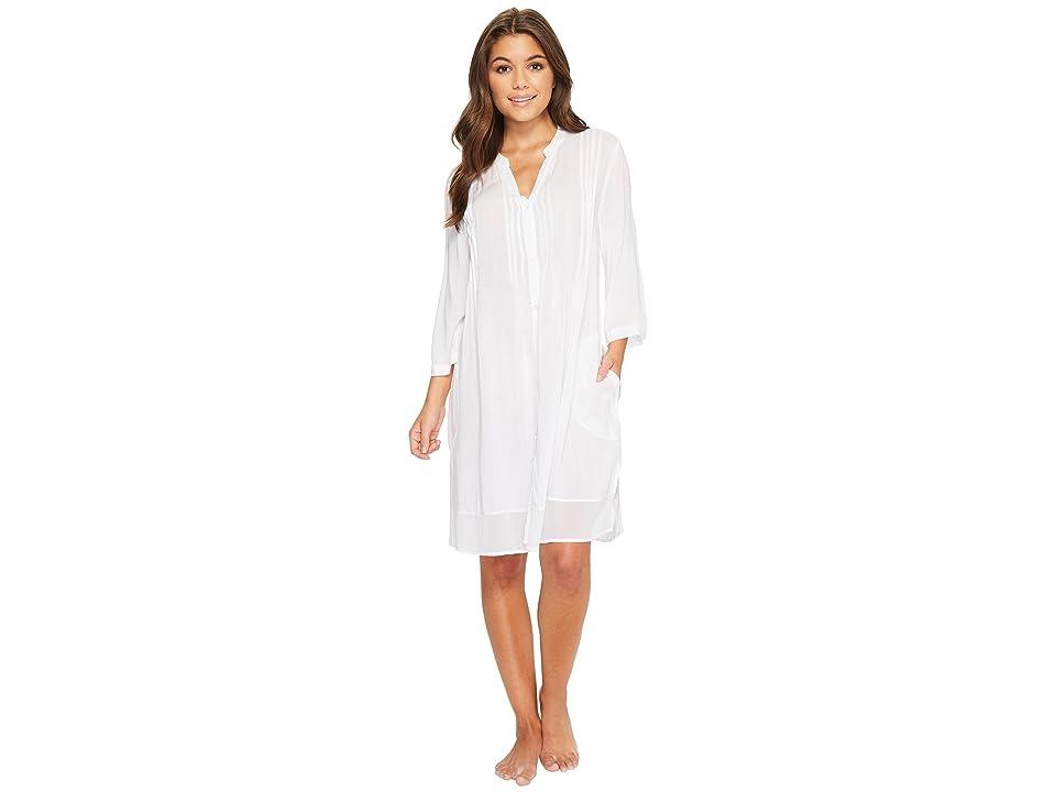 Donna Karan Viscose Slub Woven Sleepshirt (White) Women