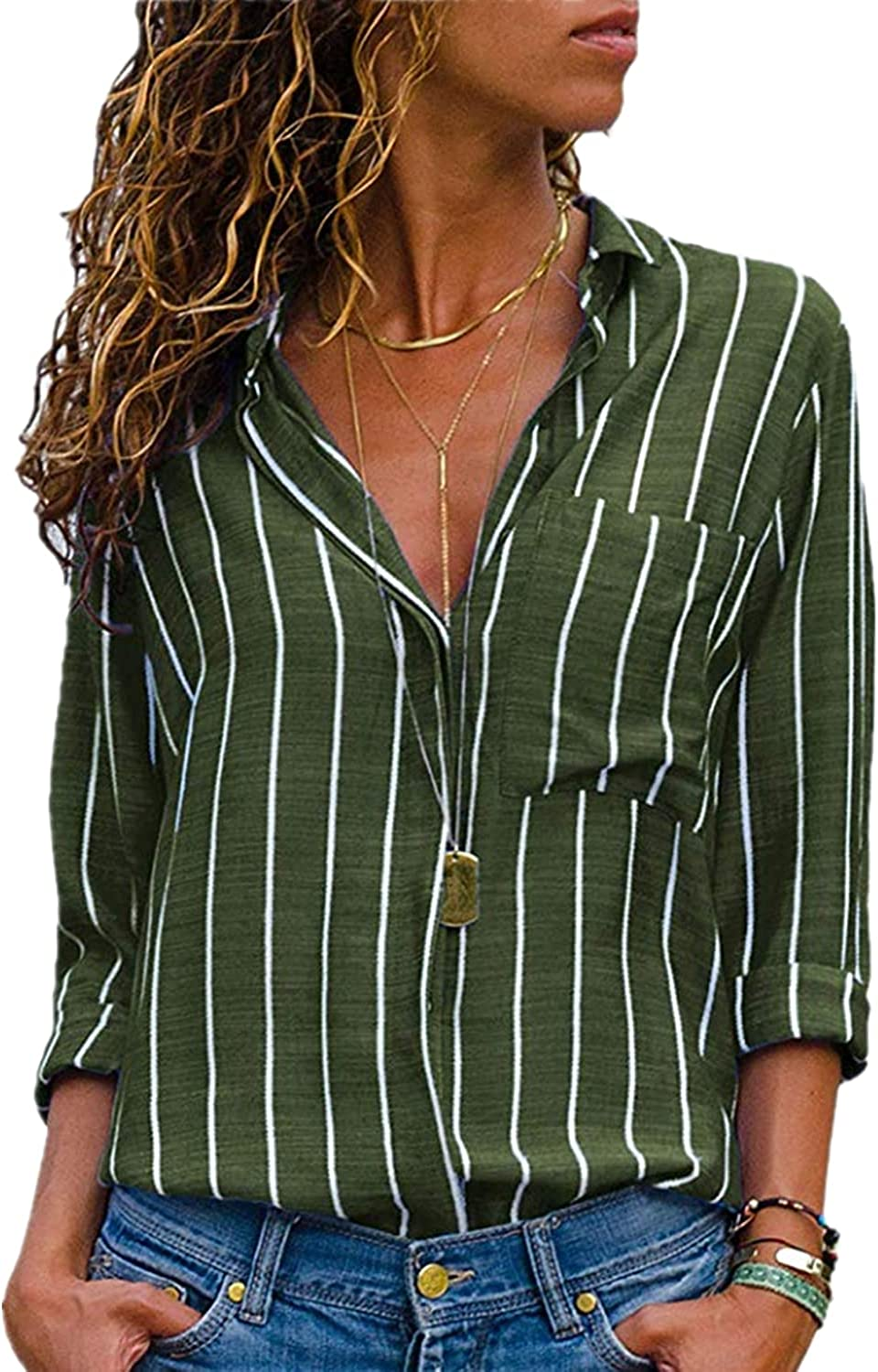 ZOCANIA Womens Summer Blouses Casual V Neck Stripe Cuffed Sleeve Button Shirts Tops