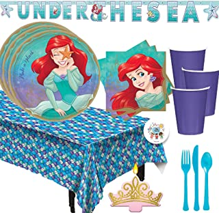 Princess Ariel The Little Mermaid Birthday Party Supplies Pack For 16 With Princess Ariel Party Plates, Napkins, Mermaid Tablecover, Princess Candle,