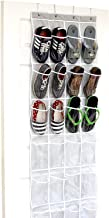 24 Pockets - Callas Crystal Clear Over The Door Hanging Shoe Organizer, Gray (64'' x 19'')