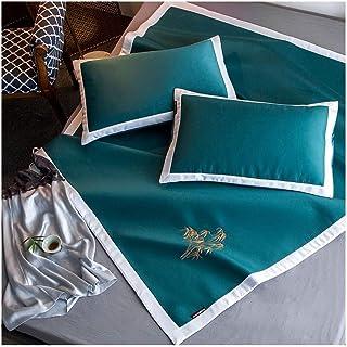YONGYONG Ice-mat Estera De Seda del Hielo Estera Bordado De Seda del Hielo 5D Estera del Arte del Resbalón De Tres Piezas (Color : Green, Size : 1.8 * 2m Bed)