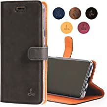 Google Pixel 2 Case, Leather Wallet Case in Nubuck Leather with Credit Card/Note Slot, from The Snakehive Vintage Collection (Black)