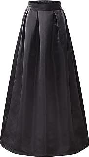 Women's Elastic High Waist A-line Flared Maxi Skirt