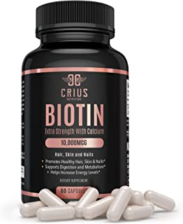Crius Nutrition Biotin Supplement with Calcium for Thinning Hair, Skin and Nails (20,000mcg) - Hair Regrowth Treatment for...