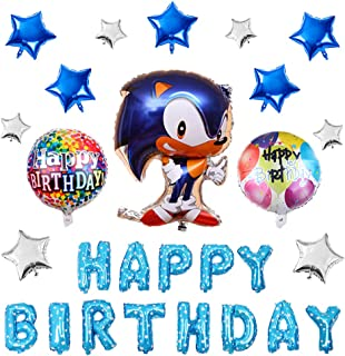 17PCS Sonic the Hedgehog Balloons Birthday Party Supplies Set, Happy Birthday Banner Foil Balloon for Kids Baby Shower Birthday Party Decorations