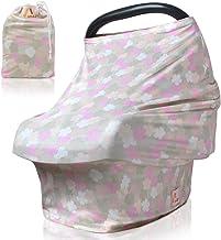 Amazy Autositzbezug für Babys inkl. Aufbewahrungsbeutel – Dehnbare Abdeckung für Babyschalen oder als Stilltuch und Einkaufswagenschutz für Ihr Baby | In 5 Designs erhältlich Pastell | Blumen