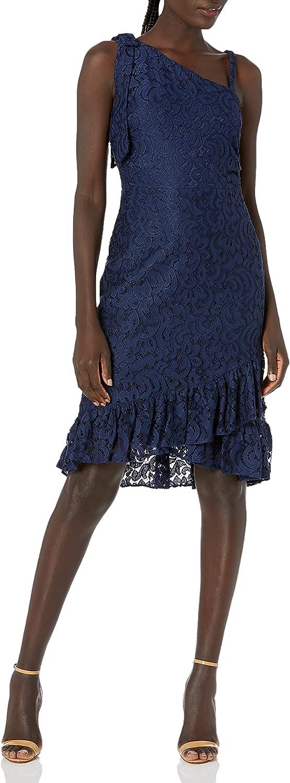 kensie Women's Mock One Shoulder Lace Dress with Flounce