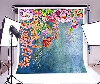 BuEnn 5x7ft Estilo de Pintura al óleo Flores Coloridas Flores Florales Pared Azul Bebé Niño Niño Niño Niña Retrato artístico Pascua Primavera Paisaje escénico Cielo Photoshoot Props Video Drape