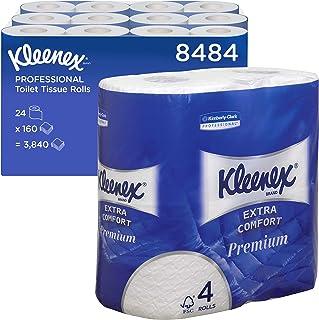 Kleenex 8484 Papier toilette 4 épaisseurs, 24 petits rouleaux de 160 feuilles, Ultra Confortable, Premium, Blanc, 8484110