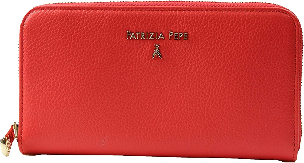 Patrizia pepe, portafoglio zip around, porta carte di credito per donna, in vera pelle liscia 2V4879A4U8 R626