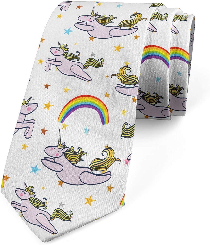 Lunarable Men's Tie, Dream Creatures Rainbows, Necktie, 3.7