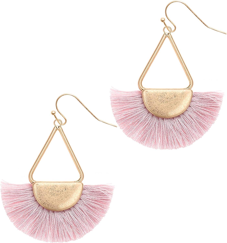 MIRMARU Women's Bohemian Silky Thread Half Circle Tassel Fringe Dangle Drop Statement with Triangle Gold Tone Metal Hook Earrings.