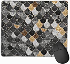 Really Mermaid Black Gold Mouse Pad Non-Slip Rubber Gaming Mouse Pad Rectangle Mouse Pads for Computers Desktops Laptop 9.8