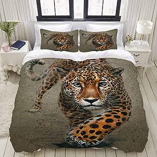 "Mokale Duvet Cover,Zipper Closure,Jaguar Background Watercolor Animals Predator Leopard,3 Pieces Bedding Set with 2 Pillow Shams King Size(104""X90"")"