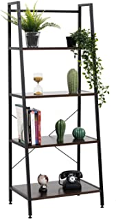 Bestier Ladder Shelf 4 Tier Bookshelf Metal and Wood Bookcase Home Storage Rack Display Shelf Accent Furniture for Office, Bedroom, Living Room Brown