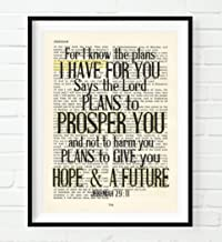 For I Know the Plans I Have for You, Jeremiah 29:11, Christian Unframed Reproduction Art Print, Vintage Bible Verse Scripture Wall and Home Decor Poster, Inspirational Gift, 5x7 inches