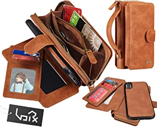 for iPhone Xs Max Case, Urvoix 2 in 1 Premium Leather Wallet Multi-Functional Handbag Detachable Magnetic Cover with Clutch Strap Zipper Flip Card Holder for iPhone Xs Max(6.5-inch Screen), Brown