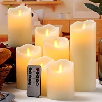 """Flameless Candles Flickering LED Candles Set of 7 (D:3"""" X H:4"""" 4"""" 5"""" 5"""" 6"""" 7"""" 8"""") Ivory Real Wax Pillar Battery Operated Candles with Dancing LED Flame 10-Key Remote and Cycling 24 Hours Timer"""