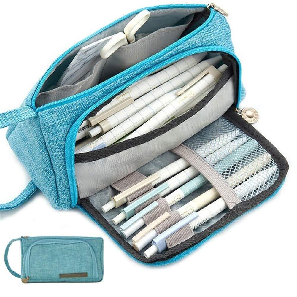 Estuche de lápices de gran capacidad Lápiz de lona Estuche de lápices Papelería Maquillaje Cosmético Bolsa Organizador Soporte for suministros de oficina for estudiantes ((Color : Light Blue): Amazon.es: Oficina y papelería