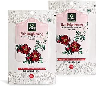 Organic Harvest Brightening Face Sheet Mask, Helps in Skin Brightening, ECOCERT & PeTA Certified, Paraben & Sulphate Free- 20gm (Pack of 2)