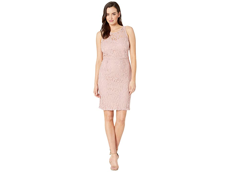 MARINA Short A-Line Sleeveless Dress with Cut in Neckline and Back Keyhole (Blush) Women