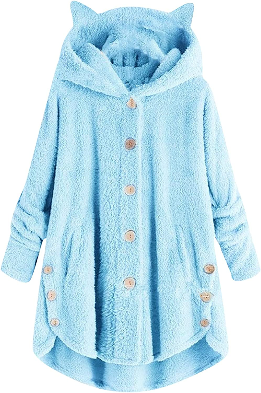 Winter Coats Women Warm Plush Button Hooded Cat Ears Irregular Jacket Coat with Pocket