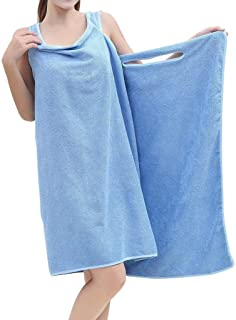 360MALL バスタオル 着れるスタイル ずり落ちない バスローブ 大判 155 * 80cm マイクロファイバー レディース用 吸水 速乾 便利 お風呂上がり・プール・ジム 簡単に巻く 抗菌仕様 (ブルー)