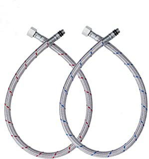 GGStudy 24-Inch Faucet Connector Braided Stainless Steel Supply Hose 3/8-Inch Female Compression Thread x M10 Male Connector One Pair
