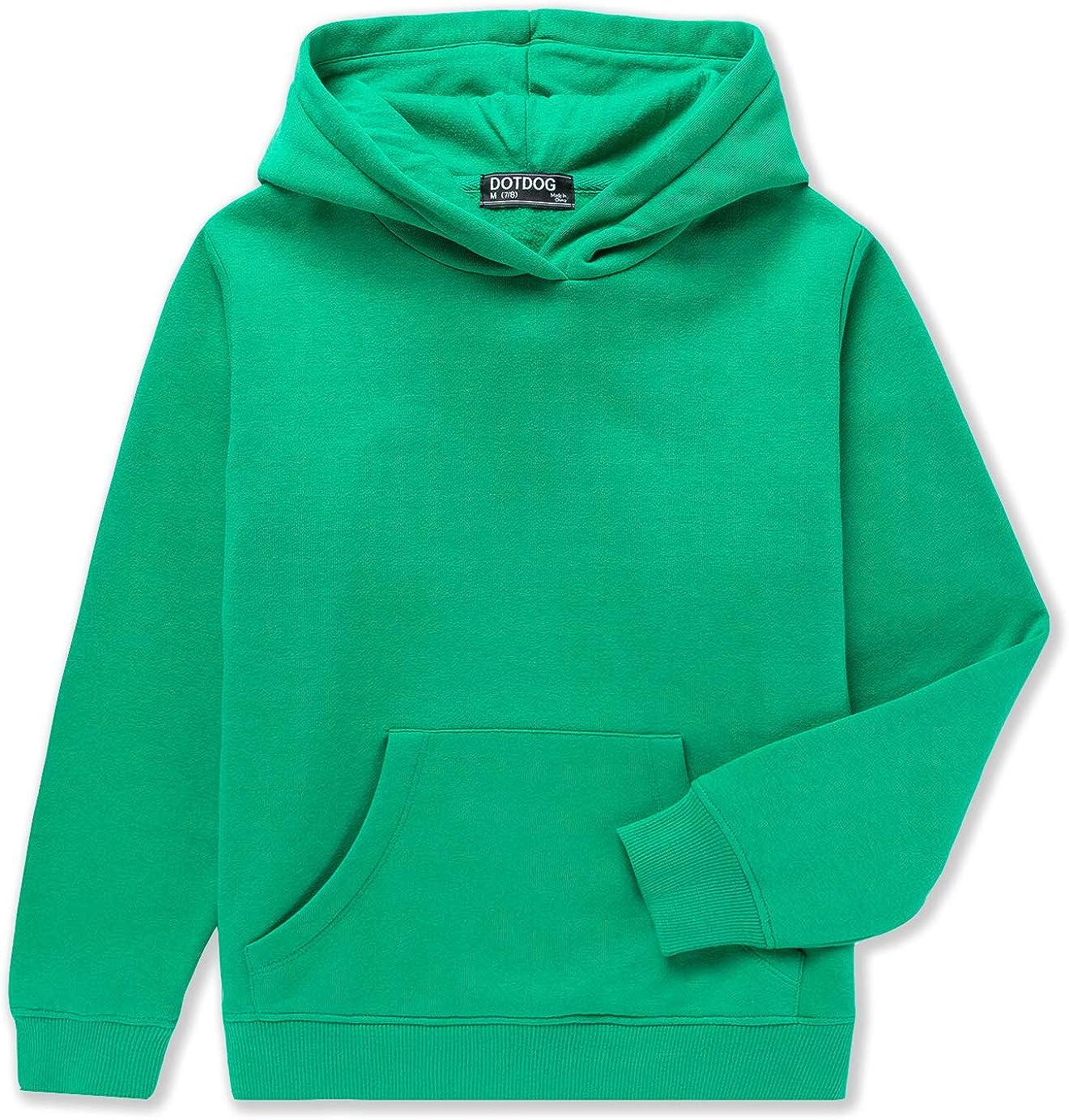 DOTDOG Unisex Kids Soft Brushed Fleece Pullover Hooded Sweatshirt Classic Casual Hoodie for Boys or Girls (3-12 Years)