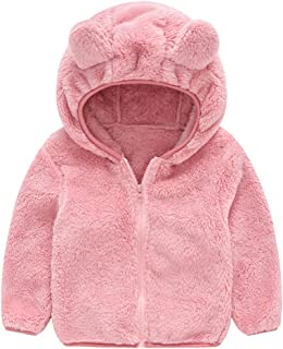 TOPBIGGER Baby Girls' Sherpa Jacket Baby Boys' Hooded Sweater Jacket Fleece Hoodie Spring Cute Bear Shape Outerwear with Ears Pocket for Boys Girls Toddler Thick Clothes 6M-4Y