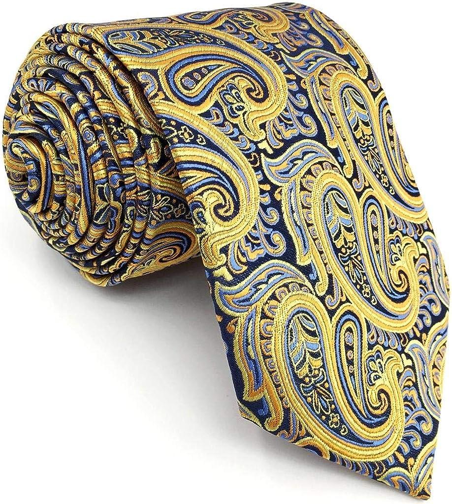 Department store Atlanta Mall SW SHLAXWING Mens Ties Silk Mustard Yellow Neckties Paisley