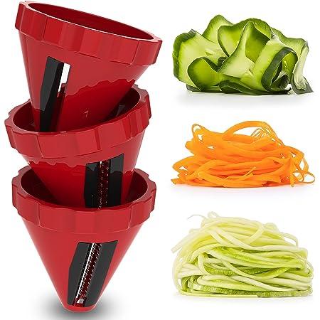 Spiraliseur de Légumes, 3 Ensembles de Coupe Legume Coupe Rapide, Spaghettis de Légumes Coupe-Legumes Spirale Manuel pour Courgettes, Carottes, Concombres, etc.