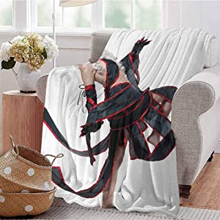 CRANELIN Digital Printing Blanket Posing Warrior Girl in Manga Style Japanese Culture Themed Illustration Art Red White and Black Sofa Camping Reading Car Travel W60 xL80