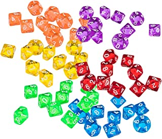 Yundxi Polyhedral Dice Die Set Multi Color DND Game Dice Assortment of D10 (0-9) for Party Bar Poker Card Die Guessing, Set of 60 Pieces