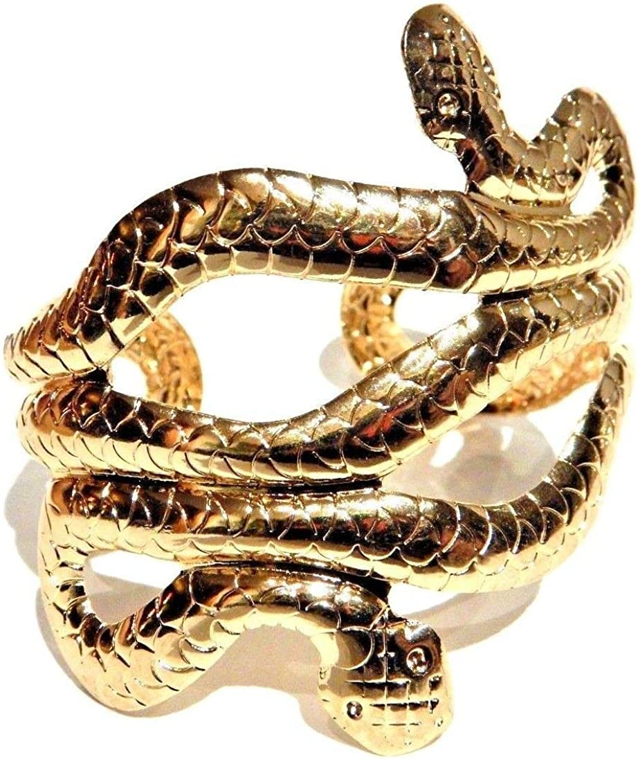 Double-Headed Snake Cuff Bracelet 2-Headed Serpent Bangle Gold Tone Egyptian Wristlet arm Band Egypt asp