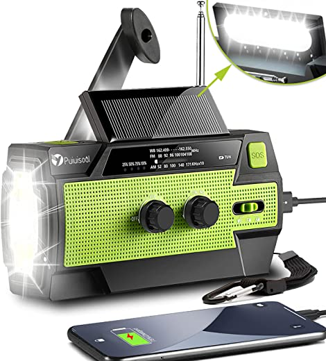 Emergency-Radio,6000mAh Portable Weather Solar Radios with Hand Crank,Motion Sensor Reading Lamp,3 Gear LED Flashlight,SOS Alarm,Cell Phone Charger,AM/FM/NOAA