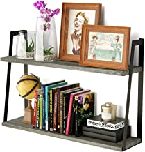 SRIWATANA Floating Wall Shelves, 2-Tier Rustic Wood Shelves for Bedoom, Bathroom, Living Room, Kitchen (Weathered Grey)