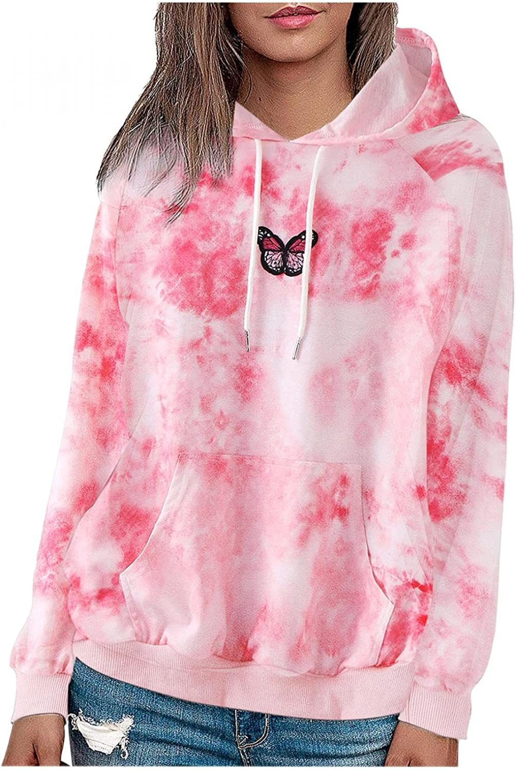 Haheyrte Hoodies for Womens Long Sleeve Cute Butterfly Printing Hooded Casual Sweatshirts Pullover Tops Sweaters Blouse