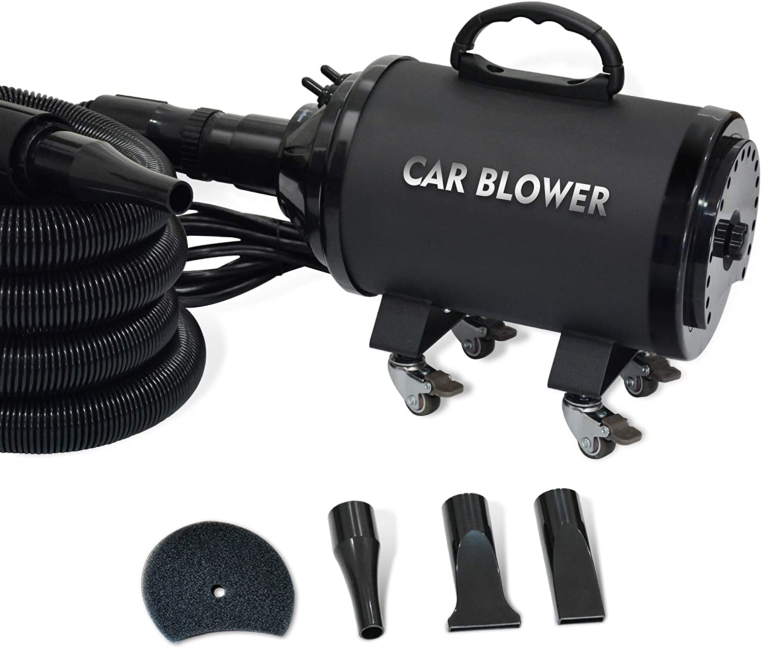 SHELANDY Powerful Motorcycle & Car Dryer with 14 Foot Flexible Hose & Wheels - for Auto Detailing and dusting: Automotive
