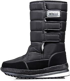 Bottes De Neige Hiver pour Hommes Chaude Fourrure Antidérapante Doublure Étanche Slip sur des Chaussures De Plein Air,Noir,42