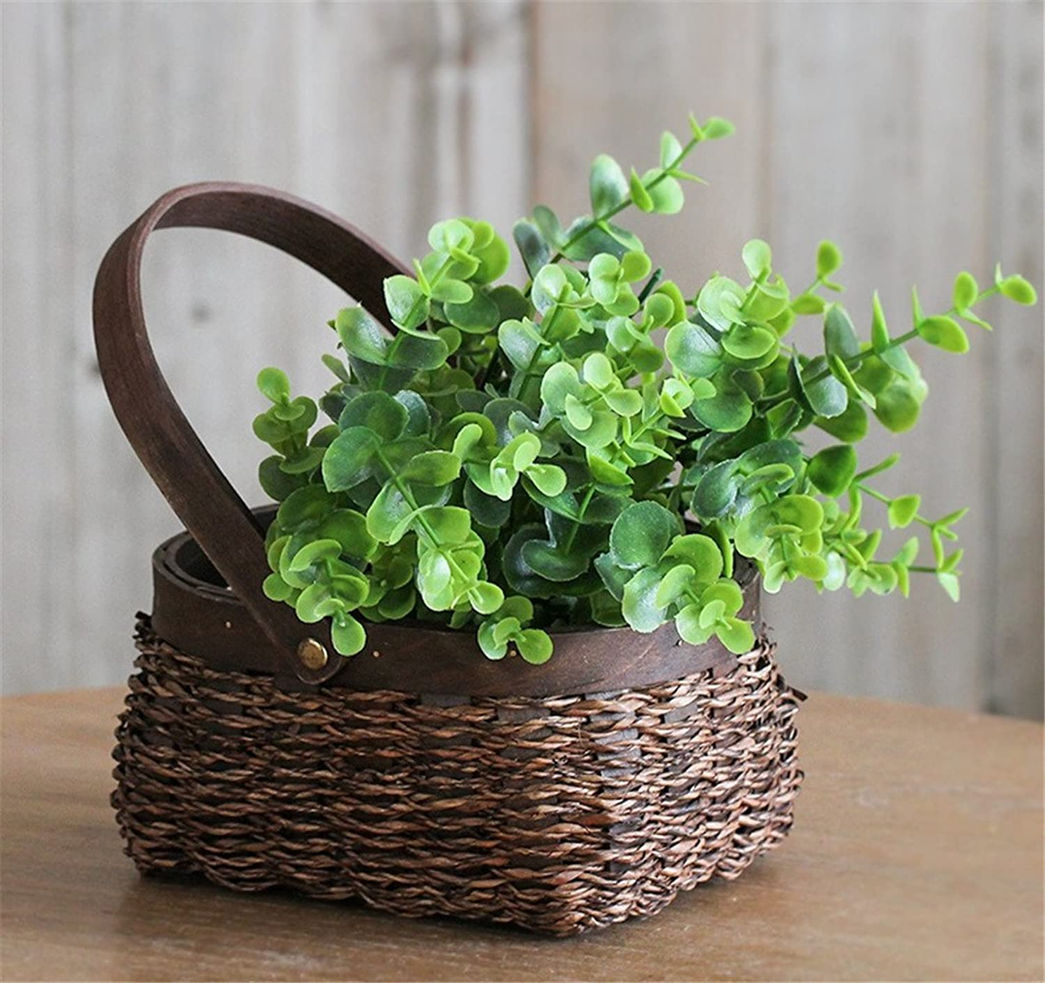 NOHOPE American Style Country Style Woven Flower Baskets Floral Kit Cafe Shops Decorated Flowers Emulation Flower Home Ornament Creative Gifts Mother's Day Gift