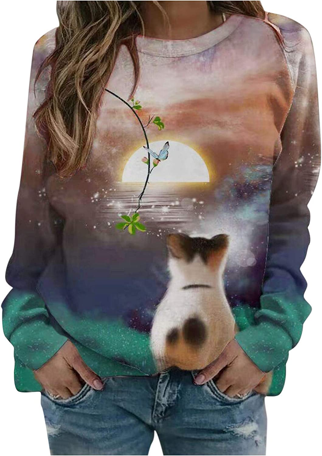 Sweater for Womens Super beauty product restock quality top Long Max 90% OFF Sleeves Sweatshirts Ligh Aesthetic Print