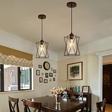 Pendant Light Fixture with Clear Glass Shape, Vintage Black Metal Cage Hanging Lights, Flush Mount Ceiling Lighting for Farmh