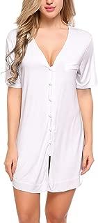 Camisón de mujer Camisón de manga corta Camisón con cuello en v Novio Camisa de pijama Vestido de pijama