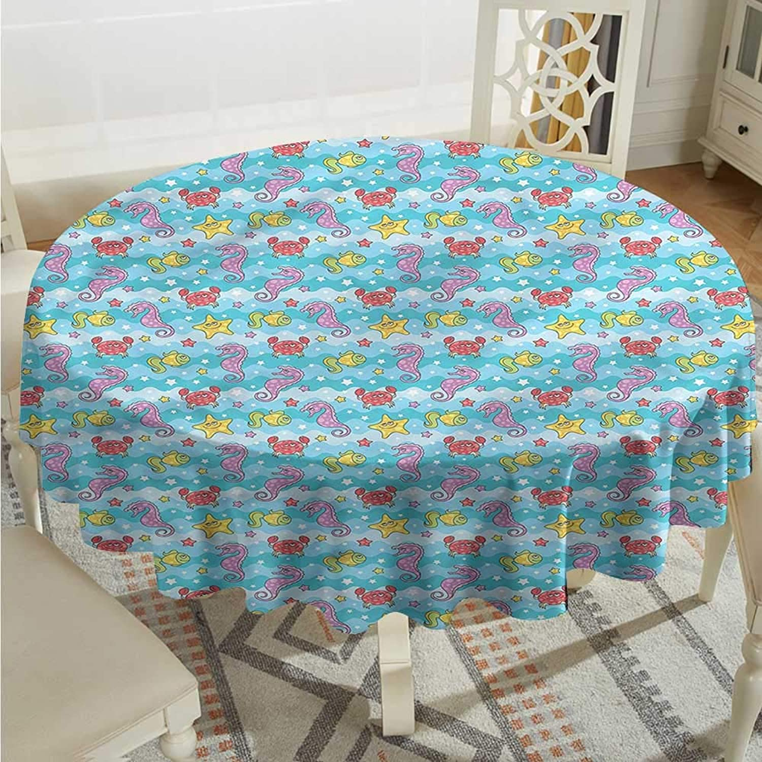 Tim1Beve Baby Resistant Table Cover Marine Inspired Sea Fauna It's Good to be Home Gorgeous High End Quality D60 INCH