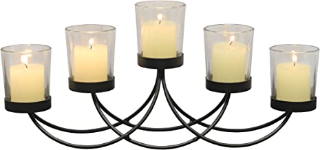 Briarwood Black Metal Votive Candelabra, Decorative Candle Centerpiece, Elegant Candle Holders, Centerpiece for Weddings, ...