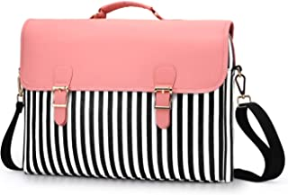 Laptop Bag 13.3 Inch - for Women Shoulder Messenger Laptop Computer Case,(Stripe Pink) …