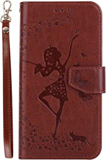 Protective Case Compatible with Samsung Compatible Samsung S5 Phone Case,Hard Pu Leather Wallet Case with Dancing Girl Pattern Phone case (Color : Brown)